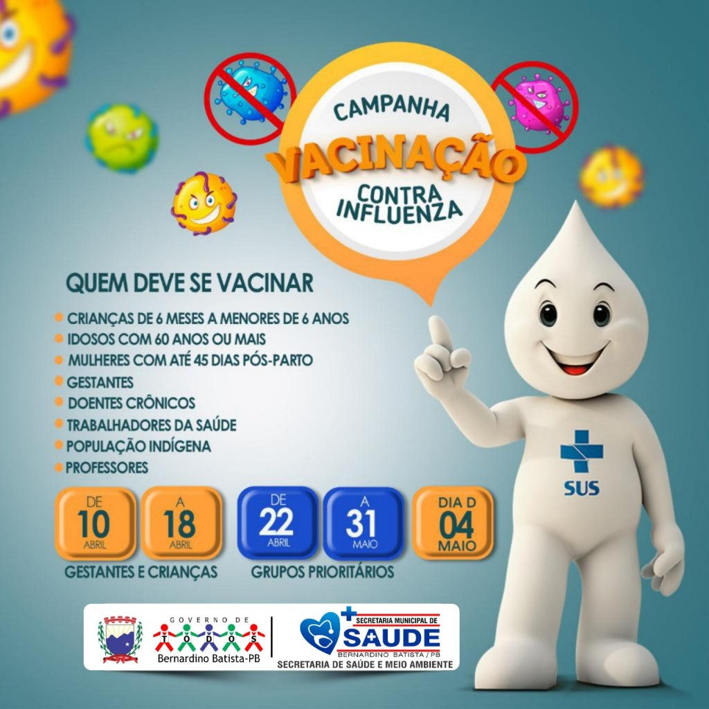Bernardino Batista: Secretaria de saúde inicia Campanha de Vacinação contra Influenza 2019