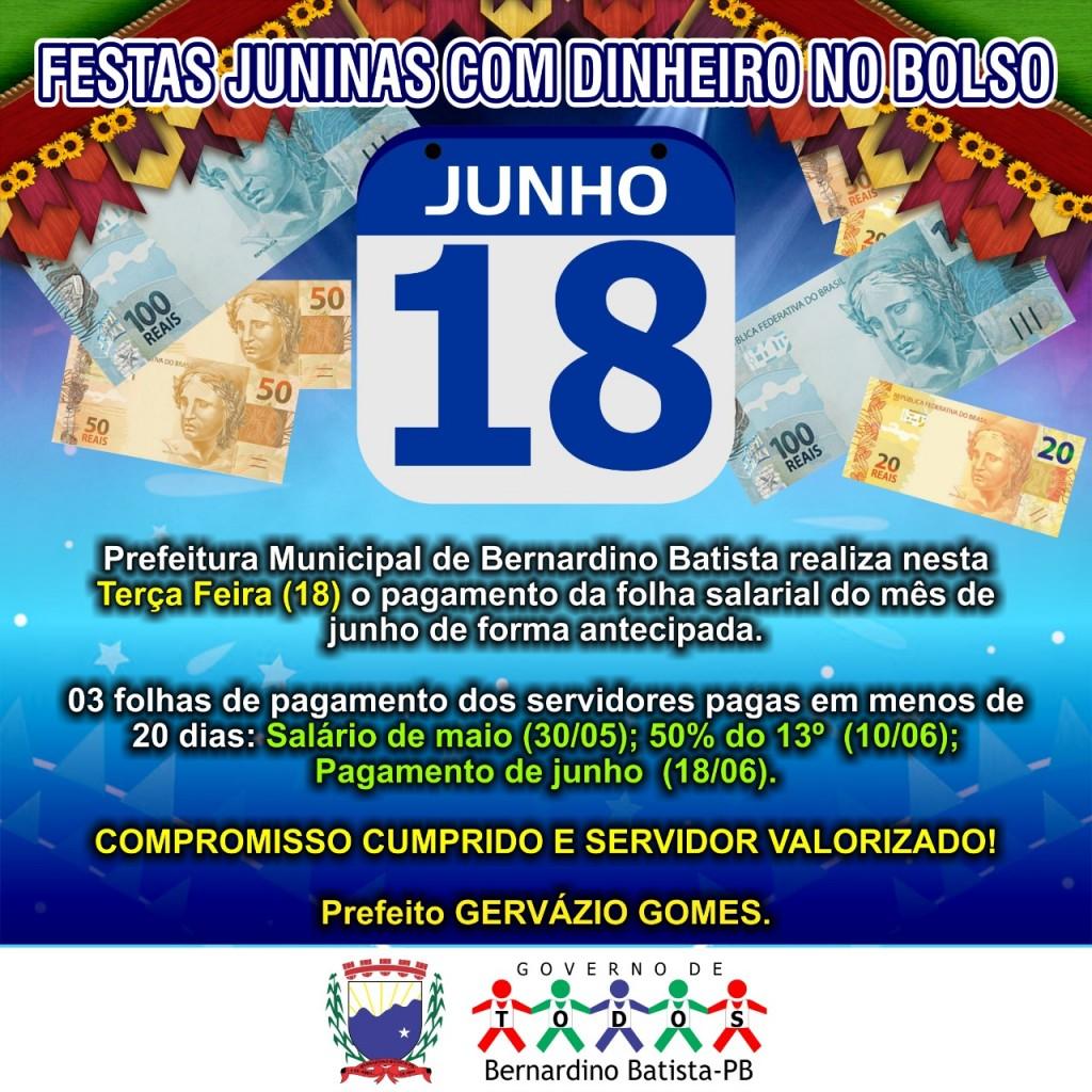 Após pagar metade do 13º, prefeito Gervazio antecipa folha de pagamento do mes de junho para esta terça feira (18)