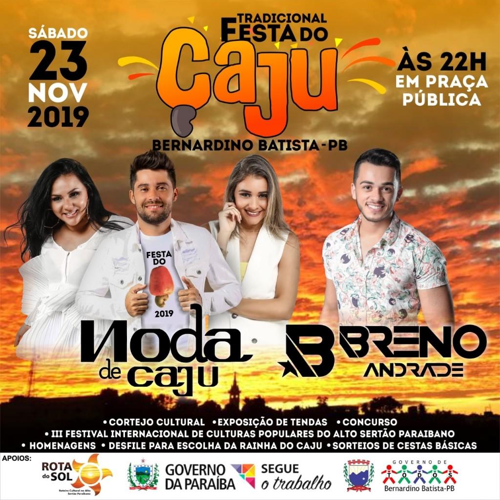 Rota do Sol e festa do Cajú: Bernardino Batista aguarda com expectativa apresentações de grupos e festa em praça publica