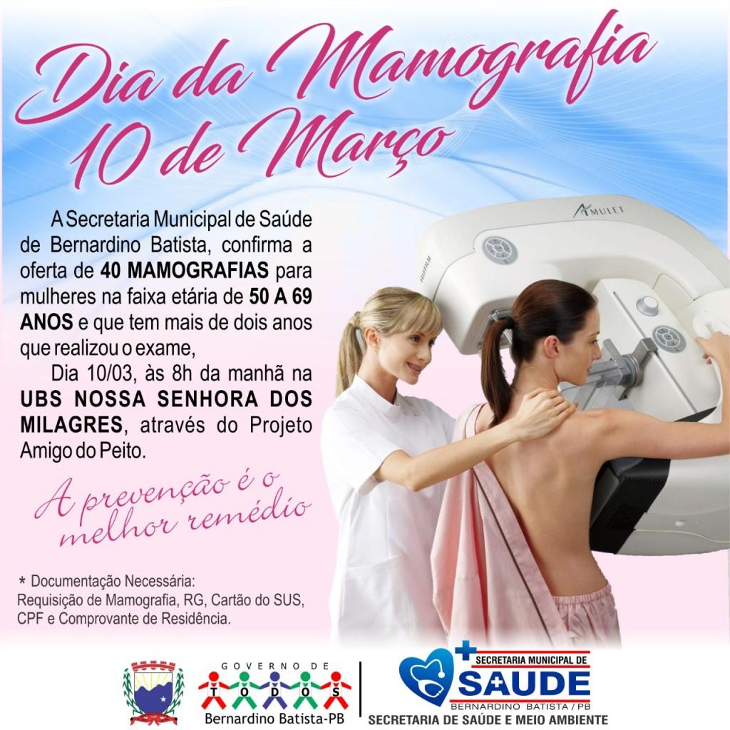 Secretaria de saúde ofertará 40 exames de mamografias em Bernardino Batista