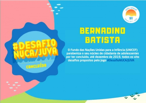 Mais um desafio é superado e Bernardino Batista segue na busca do Selo UNICEF